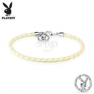 Biała pleciona bransoletka z syntetycznej skóry, zawieszka - bezbarwny cyrkoniowy zajączek Playboy obraz