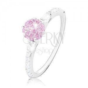 Zaręczynowy pierścionek, srebro 925, okrągła różowa cyrkonia, błyszczące ramiona obraz