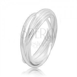 Srebrny pierścionek 925 - połączone ze sobą cienkie pierścienie, błyszcząca gładka powierzchnia obraz