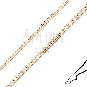 Srebrna bransoletka na nogę - podwójny łańcuszek, cyrkonie, paski, kolor miedziany obraz