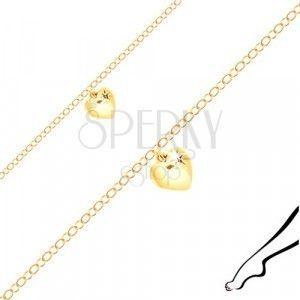 Bransoletka na kostkę ze srebra złotego koloru - lśniące serce, czarna cyrkonia obraz