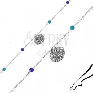 Bransoletka ze srebra 925 na kostkę - muszla morska, cztery niebieskie kuleczki obraz