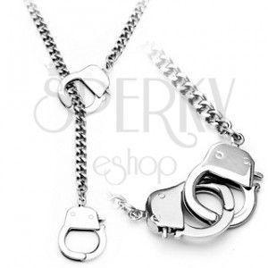 Łańcuszek ze stali chirurgicznej, srebrny kolor, małe kajdanki obraz