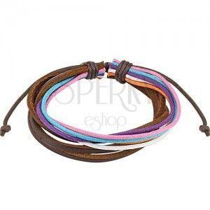 Bransoletka Multi - kolorowe sznurki, trzy czekoladowo brązowe paski skóry obraz