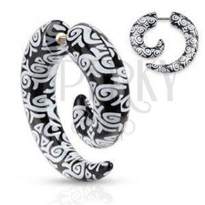 Oszukany kolczyk do ucha z akrylu, czarna spirala, białe ornamenty obraz