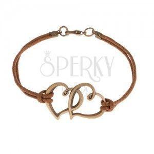 Brązowa sznurkowa bransoletka, dwa zarysy asymetrycznych serc w brązowym kolorze obraz