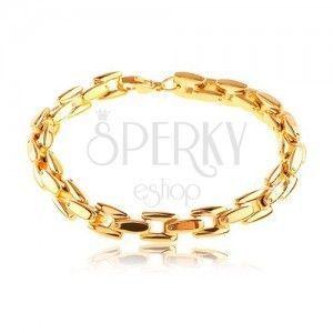Stalowa bransoletka w złotym odcieniu, lśniący łańcuszek z kwadratowych ogniw obraz