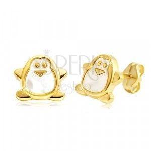 Kolczyki z żółtego złota 585 - pingwin z białą masą perłową, wkręty obraz