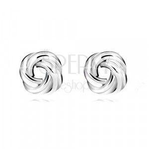Srebrne kolczyki 925 - błyszczący węzeł, cztery pary gładkich pierścieni, sztyfty obraz