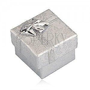 Opakowanie na prezent - srebrne róże, srebrna wstążka, 40 mm obraz
