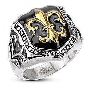 Pierścień ze stali chirurgicznej - symbol królewski, tarcza obraz
