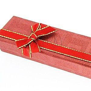 Pudełko na łańcuszek - czerwone, dwukolorowa kokardka obraz