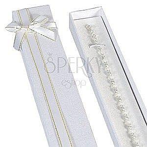 Pudełko na prezent podłużne - białe, złoto-biała wstążka obraz