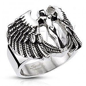 Masywny stalowy pierścień - postać anioła ze skrzydłami, patynowany obraz