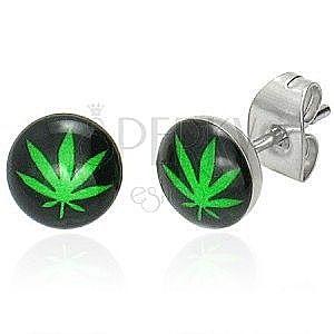 Stalowe wkrętki z motywem marihuany obraz