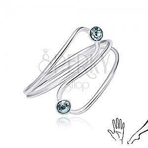 Srebrny pierścionek 925 na dłoń albo stopę, jasnoniebieskie cyrkonie w łzie obraz