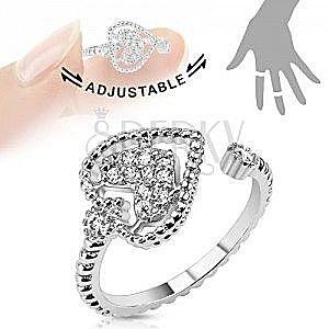 Regulowany rodowany pierścionek, serduszko ozdobione przezroczystymi cyrkoniami obraz