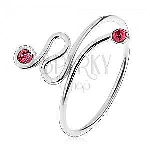 Regulowany pierścionek, srebro 925, skręcona linia, różowe cyrkonie na końcach obraz