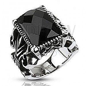 Masywny stalowy pierścionek, czarny oszlifowany prostokąt, rzeźbione ramiona obraz