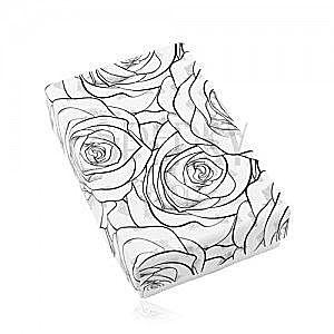 Czarno-białe pudełeczko na zestaw lub naszyjnik, nadruk rozkwitnących róż obraz