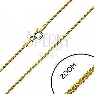 Kwadratowy łańcuszek z żółtego 14K złota - gęsto splecione oczka, zapięcie typu federing, 500 mm obraz