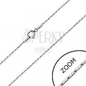 Łańcuszek z białego złota 585 - prostokątne ogniwa, kwadratowy łańcuszek, 450 mm obraz