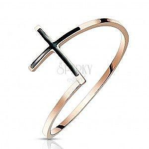 Stalowy pierścień 316L w kolorze miedzi - krzyż z czarną emalią, wąskie ramiona obraz