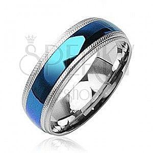 Stalowy pierścionek niebieski pas pośrodku, karbowane krawędzie obraz