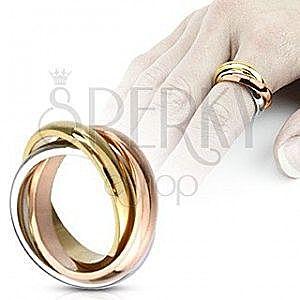 Potrójny pierścionek ze stali - trzykolorowy obraz