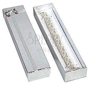 Pudełko na prezent - podłużne, srebrne róże i wstążka obraz