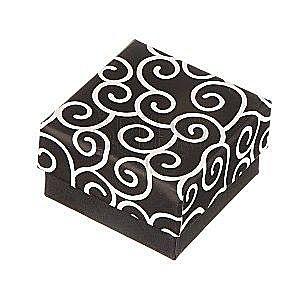 Pudełko na kolczyki - czarne, z wijącym się motywem obraz