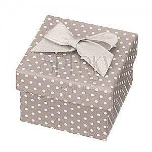 Ozdobne siwe pudełeczko na biżuterię - białe kropki z kokardką obraz