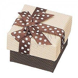 Pudełko na pierścionek - brązowa kokardka w kropki, beżowa powierzchnia obraz