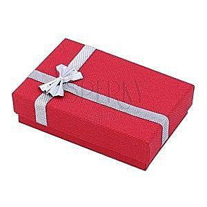 Pudełeczko prezentowe na kolczyki - czerwona ze srebrną wstążką obraz