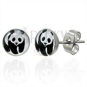 Kolczyki ze stali z misiem panda obraz
