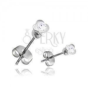 Stalowe kolczyki - srebrna czterolistna koniczynka z przeźroczystą cyrkonią obraz