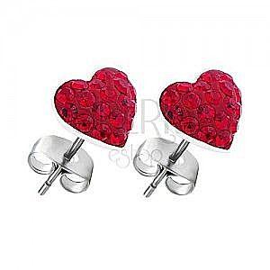 Kolczyki ze srebra 925 - czerwone cyrkoniowe serca, sztyfty obraz