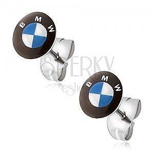 Okrągłe kolczyki ze stali - biało-niebieskie logo marki samochodu, czarne koło obraz