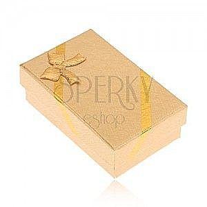 Pudełeczko na kolczyki i pierścionek, wygląd tkaniny w złotym kolorze, kokardka obraz