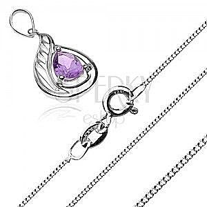 Srebrny naszyjnik 925 - łańcuszek z gęstych ogniw i fioletowa cyrkoniowa łezka obraz