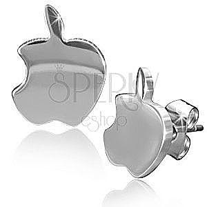 Lśniące stalowe kolczyki, jabłka srebrnego koloru obraz