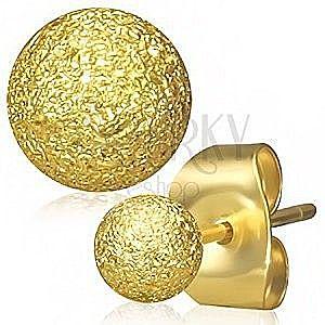 Stalowe kolczyki złotego koloru, kuleczki o piaskowanej powierzchni, wkręty obraz