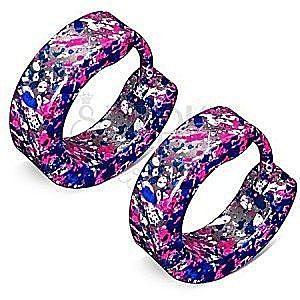 Kolczyki ze stali srebrnego koloru - niebieskie, białe i neonowo różowe plamki obraz