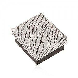 Błyszczące pudełeczko na kolczyki, srebrny i czarny kolor, wzór zebry obraz