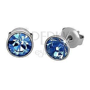 Stalowe kolczyki, srebrny kolor, jasnoniebieska okrągła cyrkonia, sztyfty, 7 mm obraz
