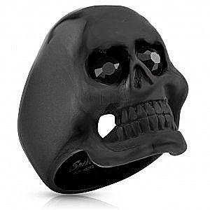 Pierścień ze stali chirurgicznej - czaszka, czarne oczy obraz