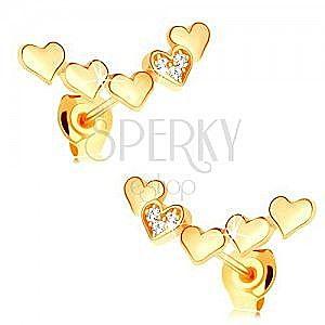 Kolczyki z żółtego 14K złota - łuk z połączonych wypukłych serduszek obraz