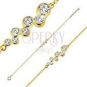 Złota 14K bransoletka - okrągłe bezbarwne cyrkonie w oprawie, błyszczący łańcuszek obraz