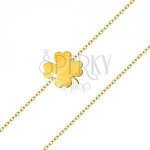 Bransoletka z żółtego 585 złota - lśniąca koniczynka, cienki łańcuszek z owalnych ogniw obraz