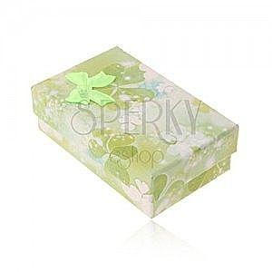 Pudełeczko na zestaw lub łańcuszek, motyw zielonych i białych trójlistków obraz